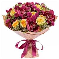 Segakimp orhideega 35cm roosades toonides