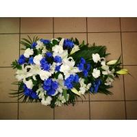 Leinakimp 65-70cm, valged+sinised lilled