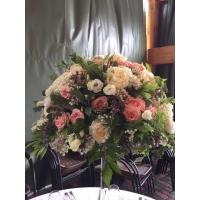 Pulmakaunistus kõrges vaasis, 35erinevat lille+lõikeroheline+dekoratsioon