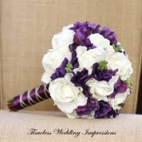 Pruudikimp valged roosid+lillad lilled, diam.27cm