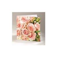 Õnnitluskaart kahepoolne roosade roosidega