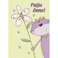 Õnnitluskaart 15x10,5cm kassi ja lillega