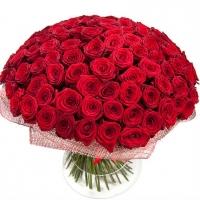 Rikkalik kimp punastest roosidest 101tk., 70cm